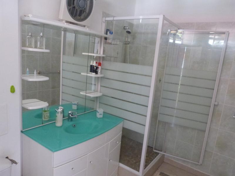 Salle de bain avec ventilateur