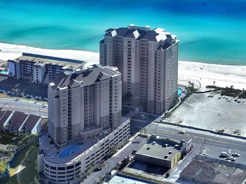 The Condo is in the beach front building. New luxury resort.