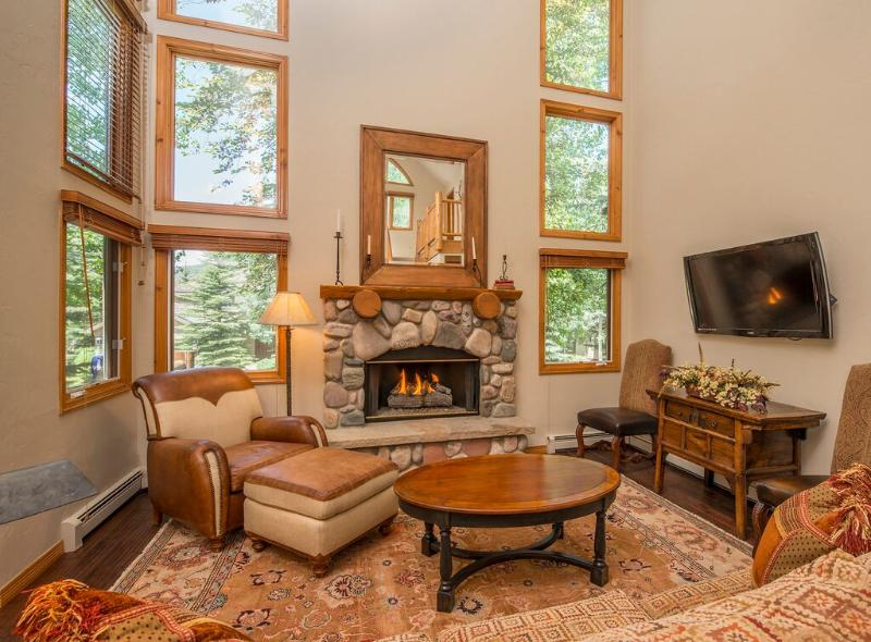 Great room with gas fireplace and flat screen television