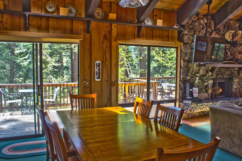 Dining Table and Sliding Doors to Deck over River