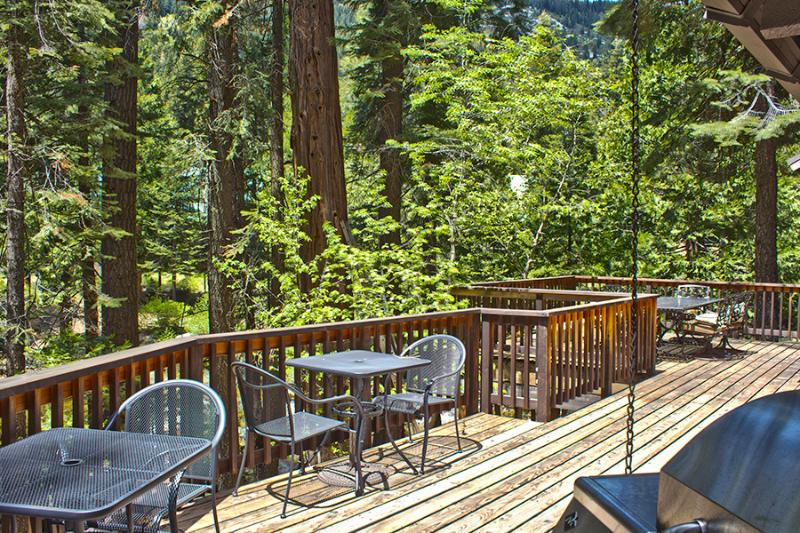 Lots of seating on the deck overlooking the river.