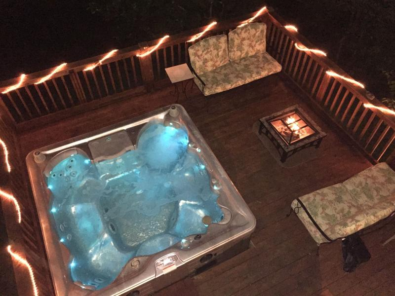 Lower deck with hot tub and fire pit