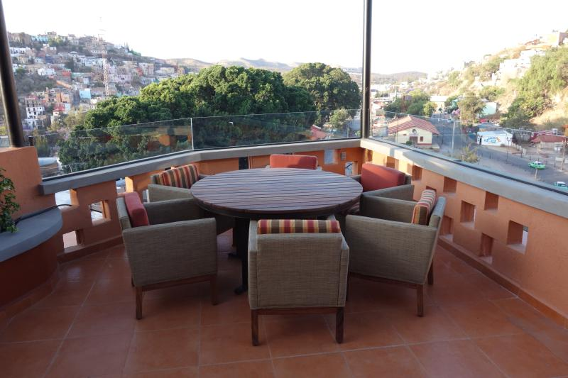 On top of the building, is the Terraza.  Two dining tables and an unrivalled view