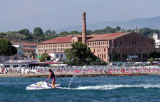 sports; windsurfing bike canoe fishing water sup on ancient brick factory background