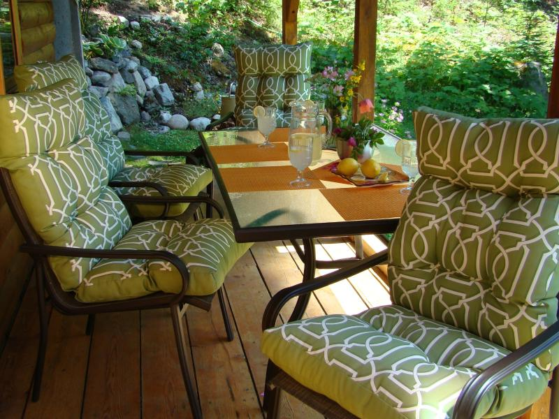Dine outdoors on the covered porch