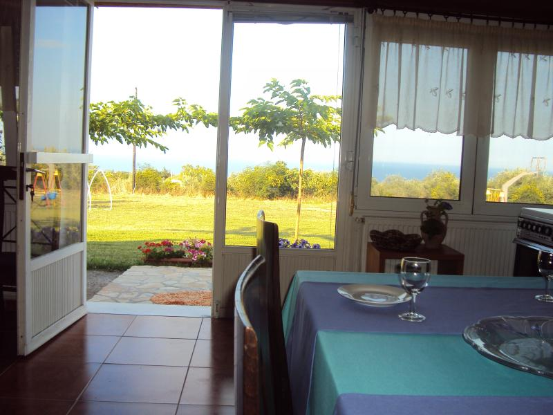 The view from the dinning table. The Aegean Sea in front of you.