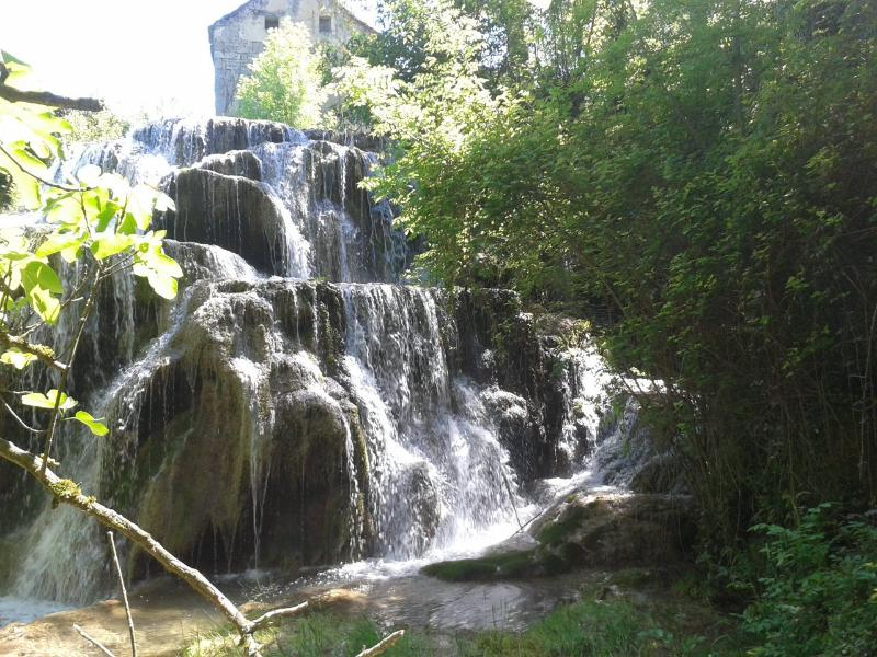 Waterfall in the garden of the gite