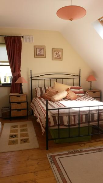 Large bright King size bedroom with wardrobe, dresser and beside lockers.