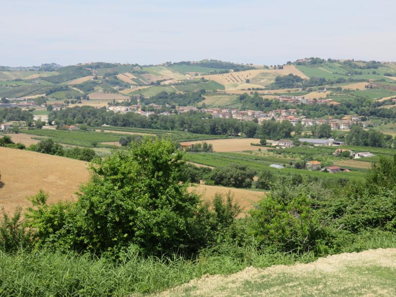 Great views of Valdaso. The village is Rubianello, where one of our favourite restaurants is.