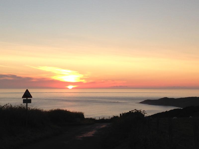 The amazing sunset driving down into Woolacombe