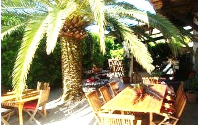 our shaded terrace for breakfasts and hosts tables.