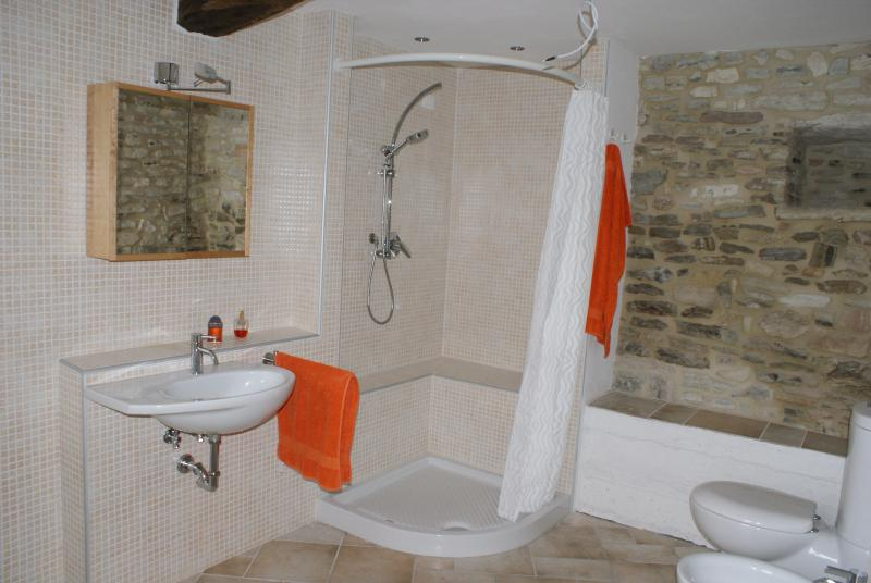 Part of the bathroom with natural stone wall