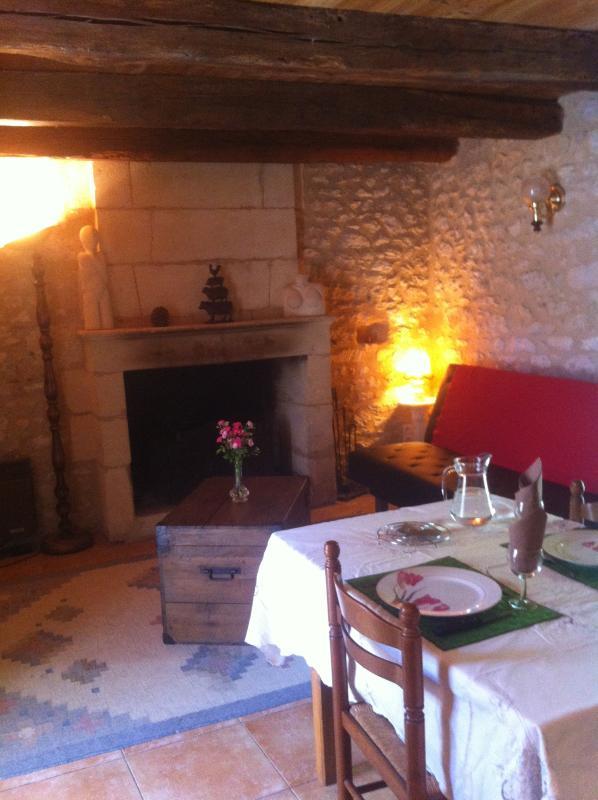 Cuisine/salon avec tv écran plat 82cm avec chaines TNT et cheminée! Brouette de bois 10€