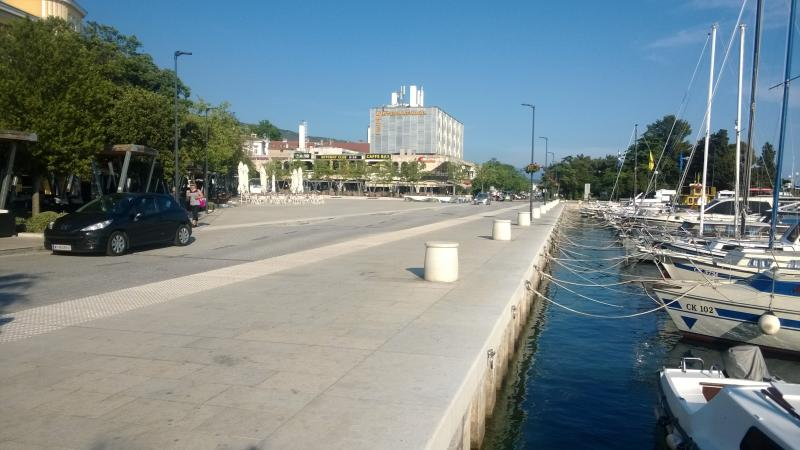 The main square and the port of Crikvenica.