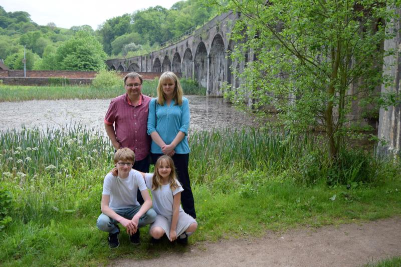 This is us just down the road from The Old Post Office with the viaduct in the background
