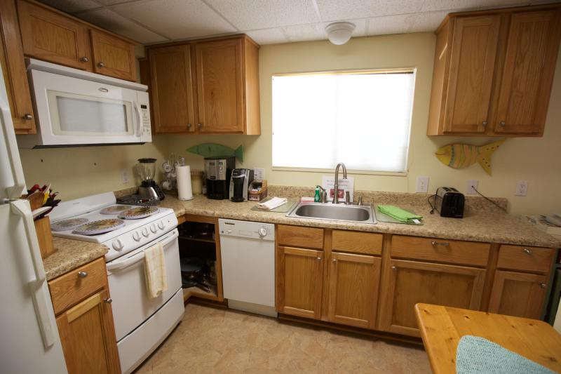 Large kitchen well stocked with all the cooking and serving utensils you need for your stay!