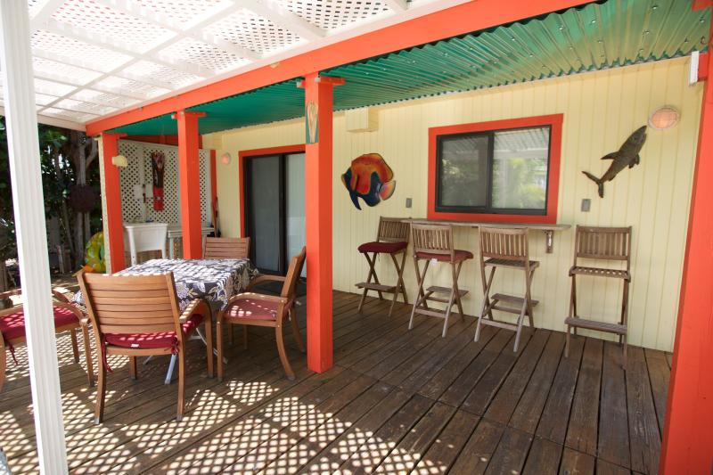 The lower deck with beautiful beach gardens, sea grape and coconut palms canopy.