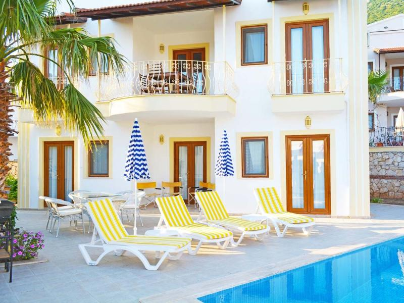 Beautiful, spacious villa. Large pool and terraces with comfortable sunbeds and dining furniture.
