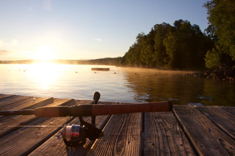 Early morning fishing on the pristine waters of Rangely Lake