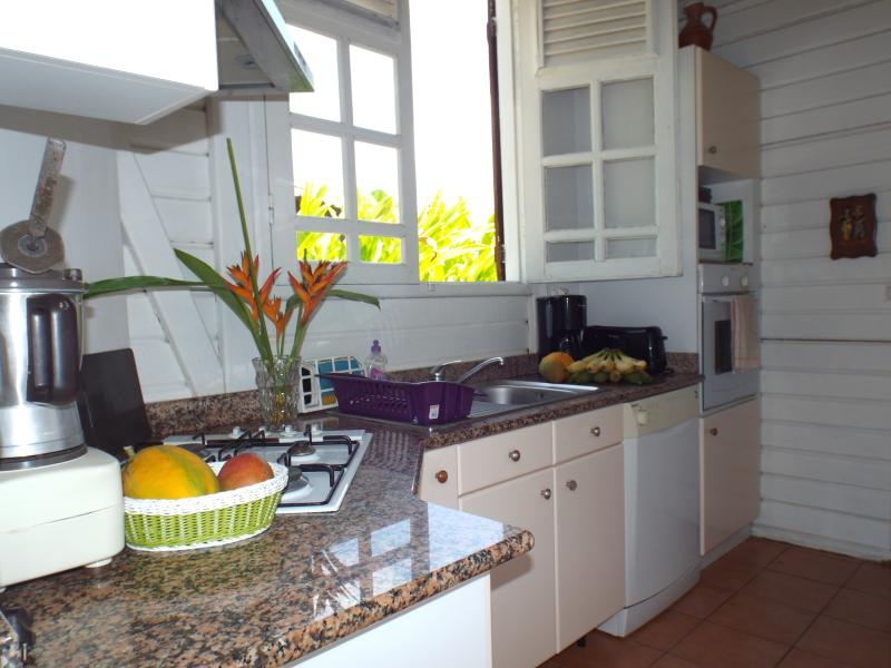 La cuisine en granit est entièrement équipée four électrique cuisson 4 feux, microondes etc.
