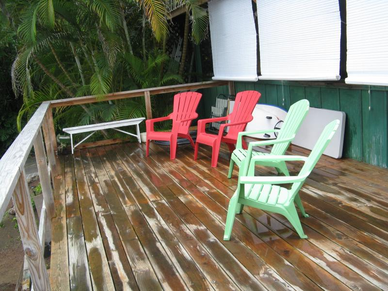 Sun Deck is also subject to rain, has coast/ocean view & surrounded by lush tropical trees, fruit