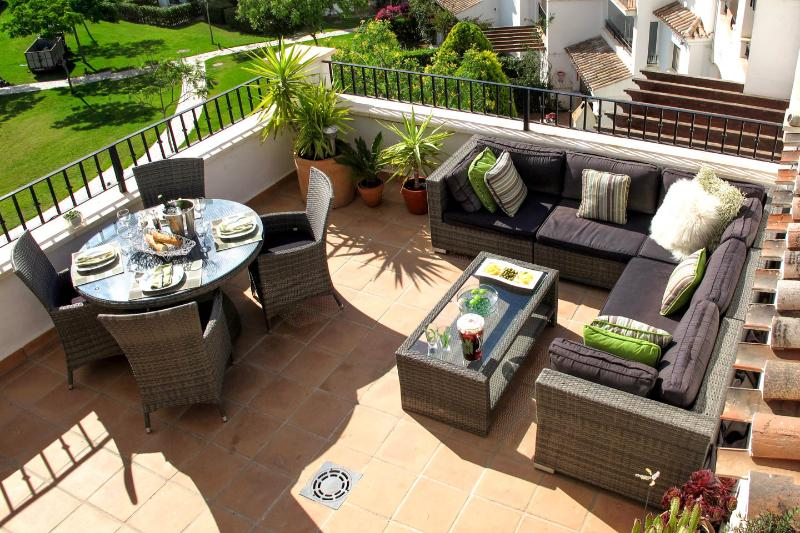 Stunning Private Terrace with views of the pool and 4th fairway.
