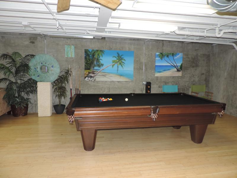 Professional size pool table in Entertainment room area