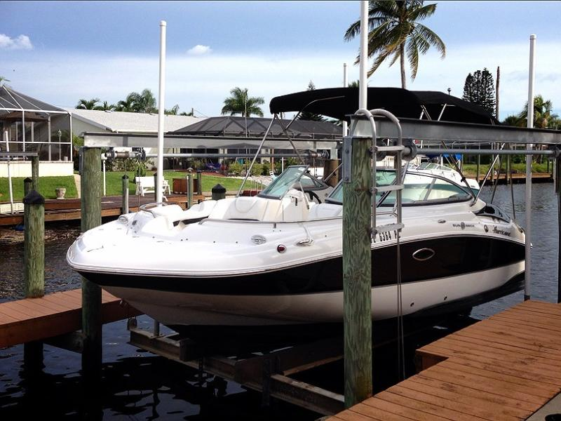 20 feet long 8 feet wide Hurricane boat available for separate rental. 150HP, GPS, bathroom etc