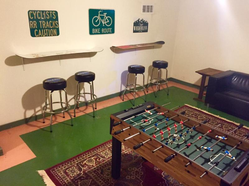 Game room in basement