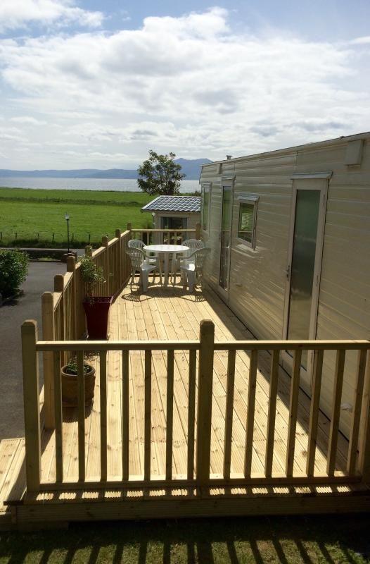 Decking area with views over to Arran