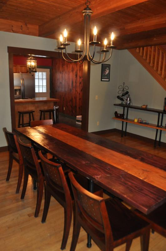 Large farm table in the eating area