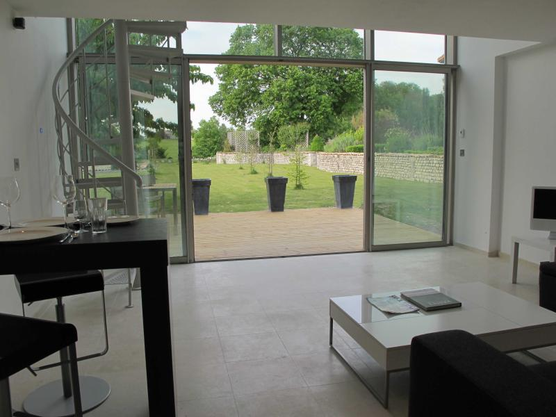 Looking out from the kitchen area