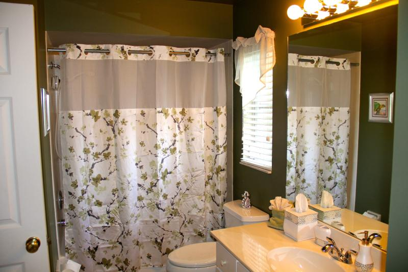 Shared guest bathroom is spacious and offers easy access to and from the pool.
