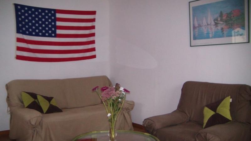 le salon  dans une pièce appart , avec un drapeau américain en remerciement à nos libérateurs .