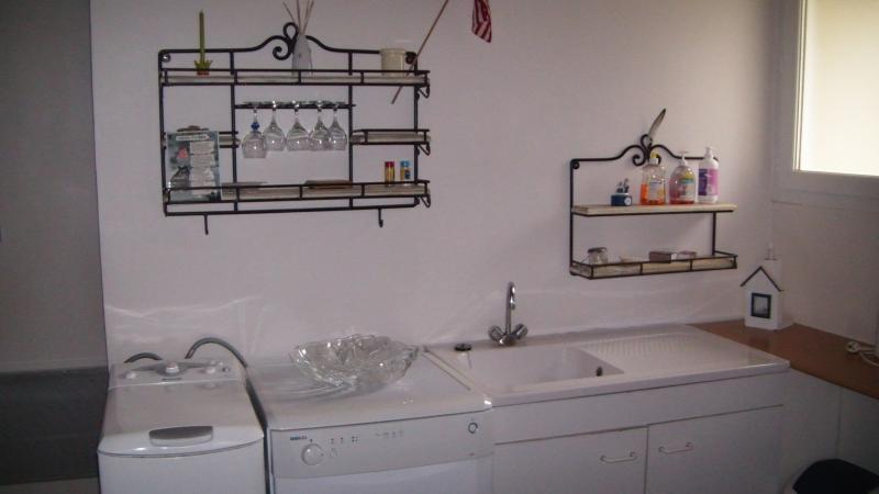 vue de la cuisine équipée avec un évier , un lave vaisselle et un lave linge