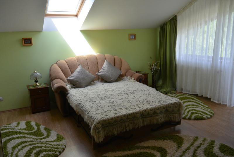 Dormitorio con sofá, TV, cuarto de baño y balcón (compartido por dos habitaciones)