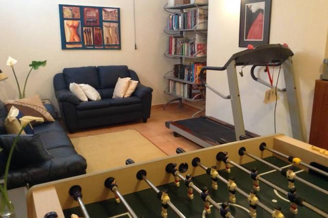 Recreation room for children, friends or family. Table football, foreign literature, treadmill, etc.