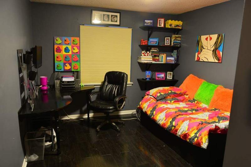 Bedroom #3 with twin day bed and desk, perfect for a teen or young adult.