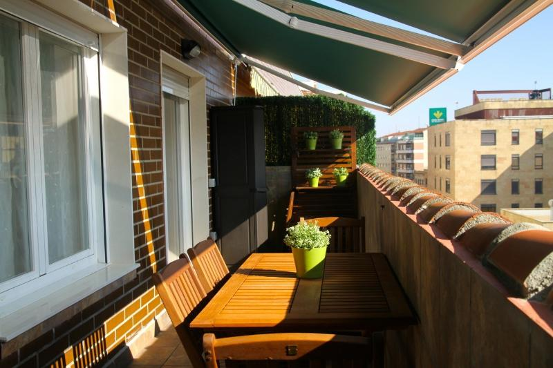 Part of the spectacular terrace (14m2) with two awnings
