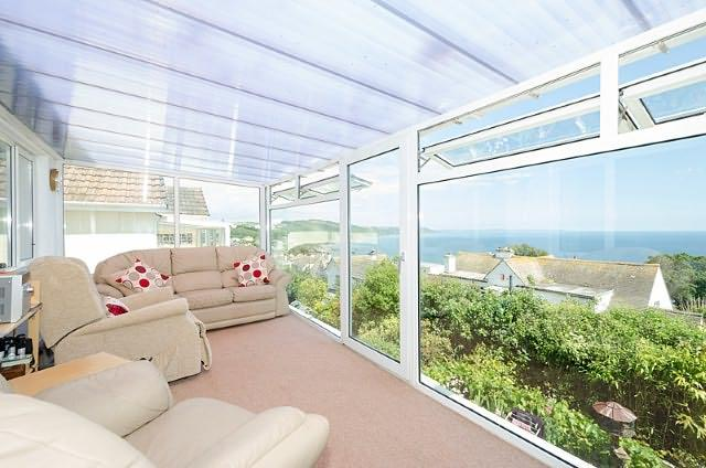 Lovely sea views from the property's gorgeous sun room.