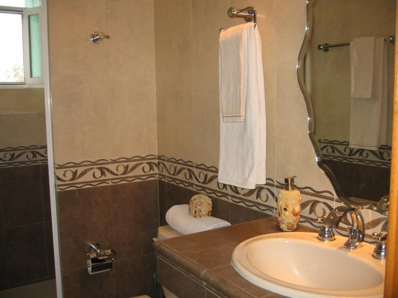 Two full baths with shower, toilet, sink, hair dryers and fresh towels
