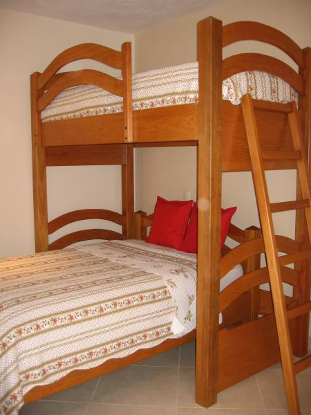 2nd Bedroom with bunk that includes a single and a double bed