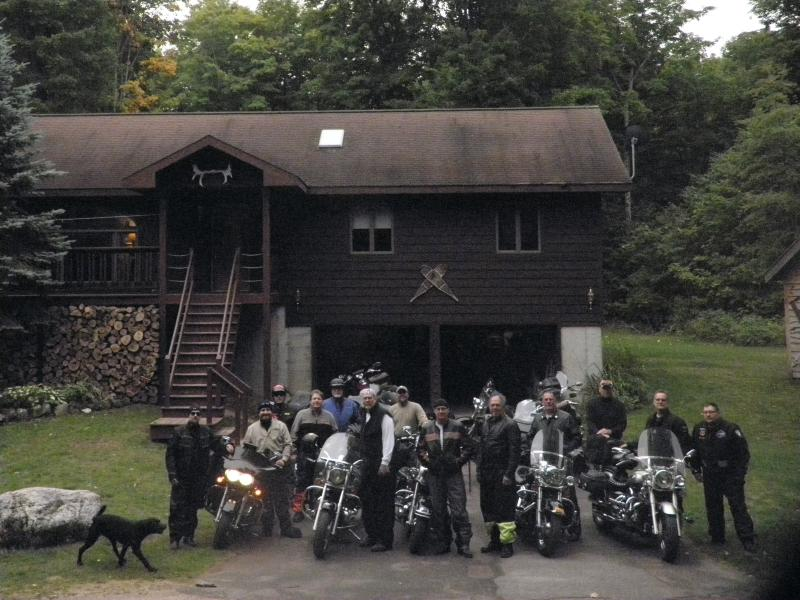 Large group getting ready to go for a ride