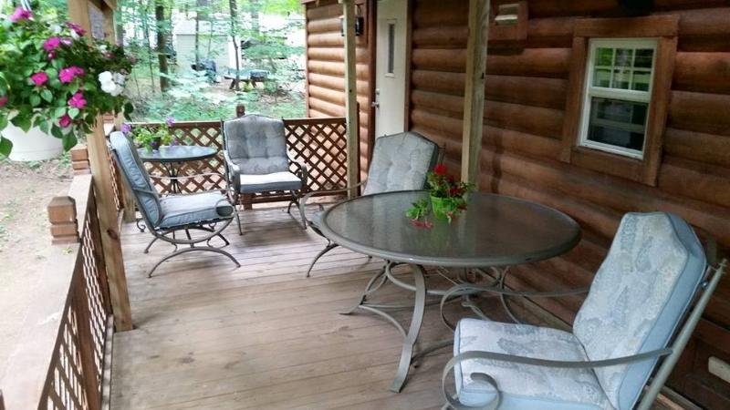 Large covered deck for peaceful and private gatherings
