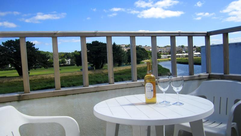The balcony overlooking the River Camel has superb views