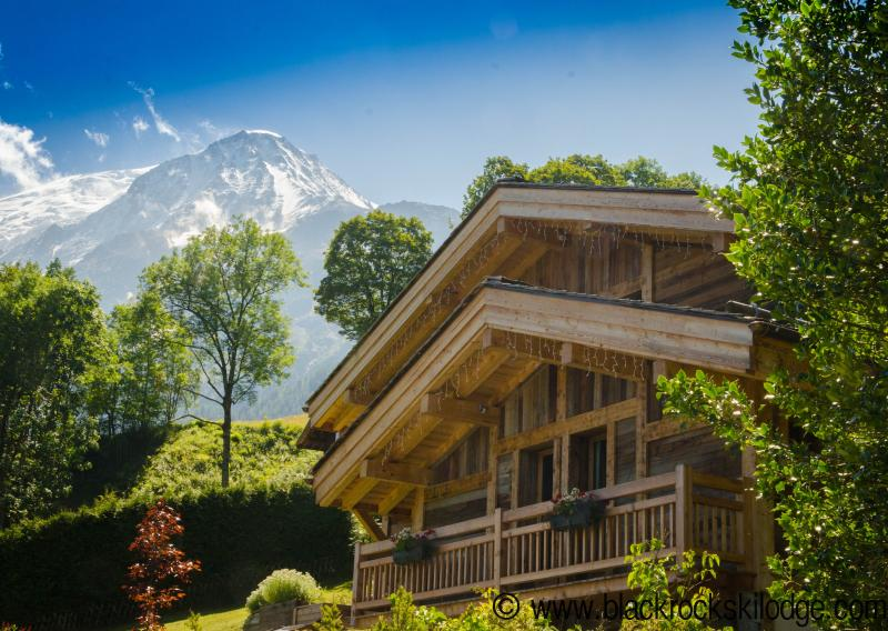 Nestled under the Dome du Gouter at the foot of Mont Blanc, the Lodge  has stunning valley views