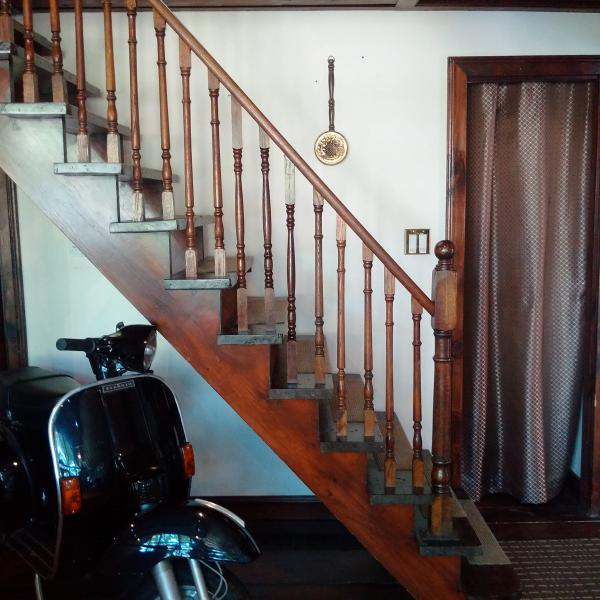 Staircase to upper level (Vespa is NOT for rental use :) )
