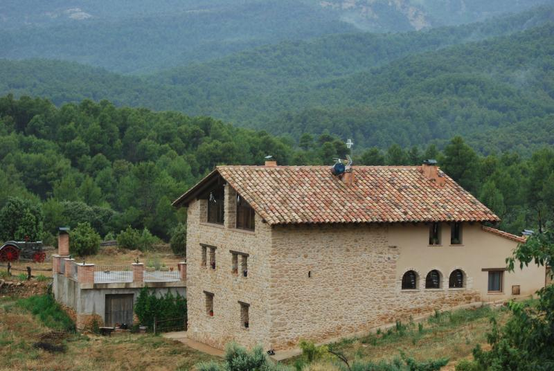 Masia de la Serra , la Cogulla al fondo.