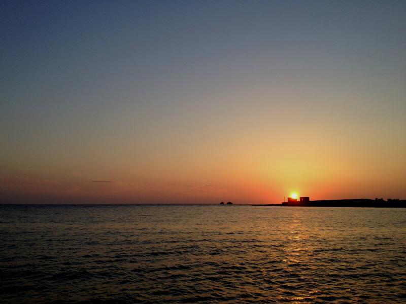 Sonnenuntergang vom Schloss von Parikia, 40 Meter vom Haus entfernt!