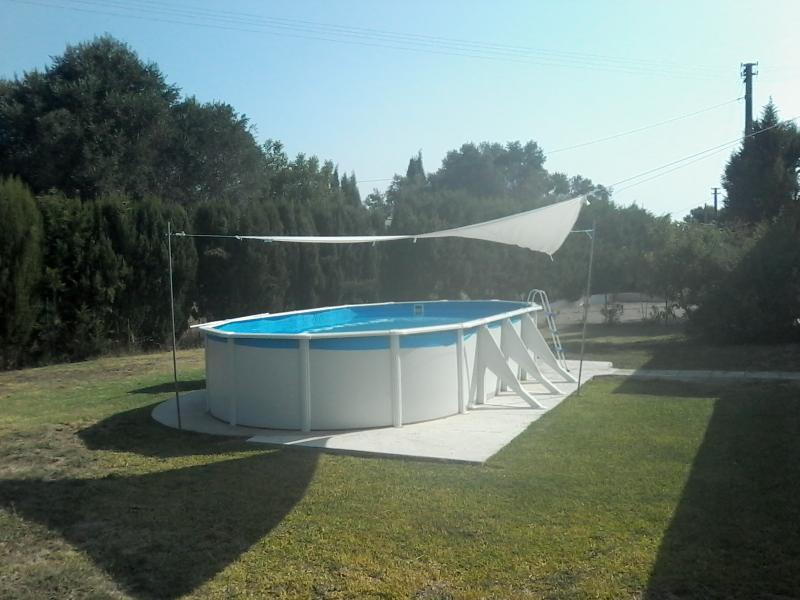 Above ground pool in the side garden